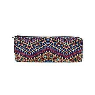 BONIPE – Estuche para lápices, diseño geométrico de bohemio étnico africano, bolsa de papelería escolar con cremallera, bolsa de maquillaje