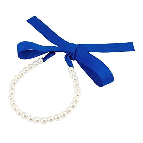Sourcingmap Serre-tête, bleu royal/blanc