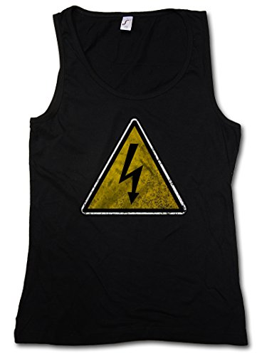 CAUTION HIGH VOLTAGE VINTAGE LOGO SIGN DONNA TOP - AC/DC Danger alta tensione Taglie S - XL