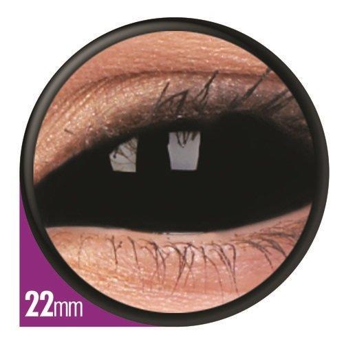 r Kontaktlinsen linsen farbig vampir mit Box dämon halloween kostüme neu sclera scleral 22mm (Schwarz Paar Halloween-kostüme)