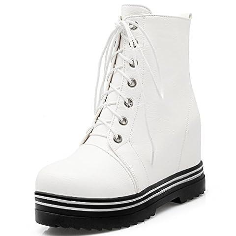 OALEEN - Bottines Compensées Femme à Lacets Clous Chaussures Low Boots Fourrés Plateforme Blanc 37