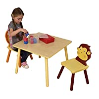 Liberty House Toys Jungle Table and 2 Chair Set, Wood, Multi-Colour, 66x66x53 cm
