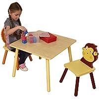 Preisvergleich für LibertyHouseToys Jungle Tisch und Zwei Stuhl Set, Holz, Mehrfarbig