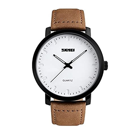 Mens Unique Analog Quartz Waterproof Business Casual Leather Band Dress