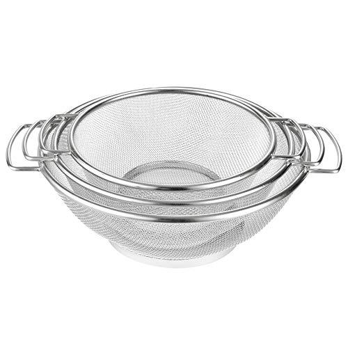 Cestello filtrante in acciaio inox, scolapasta in acciaio inox con manico, filtro in metallo per alimenti per pasta vegetale - varie misure (20/22/25 cm) (20cm)