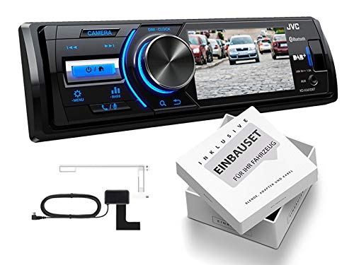 JVC-KD-X561DBT-1-DIN-DAB-Media-Receiver-Farbdisplay-inklusive-Kamera-fr-VW-Caddy-2K2KN-ab-2003-schwarz