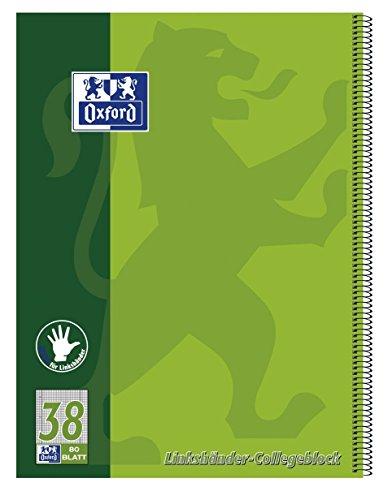 Oxford 100050405 - Block notes per mancini A4+, a quadretti con margine a sinistra e a destra, 80 fogli, carta ottica 90 g/m², confezione da 10 pezzi, colore: Verde
