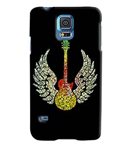 Blue Throat Guitar With Wings Printed Designer Back Cover For Samsung Galaxy S5