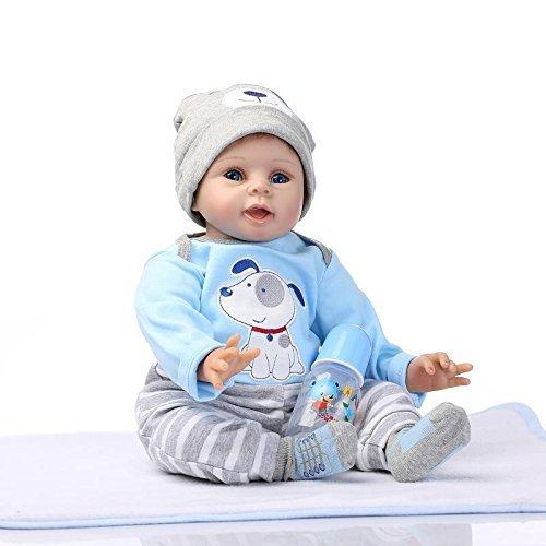 Nicery Reborn Baby-Puppe Weich Simulation Silikon Vinyl 22 Zoll 55 cm magnetisch Mund lebensechte Boy Girl Mädchen Spielzeug Blue Dog (Up Stehen Kleidung Dress)