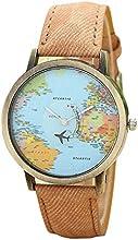 RETUROM Viaje Global Fashion En avión Mapa vestido de las mujeres del reloj de la banda de tela de mezclilla