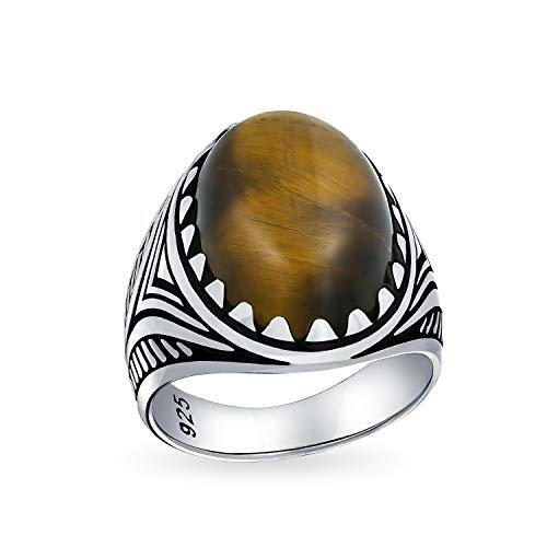 Großen Braunen Tigerauge Oval Cabochon Edelstein Kralle Ringe Für Herren Oxydiert Silber Handgefertigt In Der Türkei