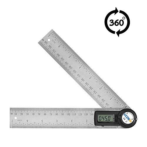 UEZNIRN Winkelmesser Digital Winkel Lineal mit LCD-Anzeige, Längenmessung 400mm / 14 Zoll, Messbereich: 0°~360°, Edelstahl Winkel Werkzeug für Holzarbeiten, Heimarbeit