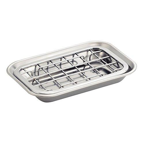 InterDesign 2-Piece Polished Gia Soap Dish Set, Grey