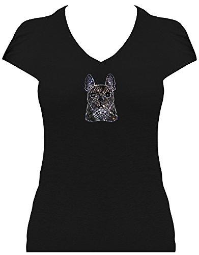 elegantes Shirt Damen kleine Französische Bulldogge Welpe Strass French Bulldog, T-Shirt, Grösse S, schwarz (Damen Strass Bulldogs)