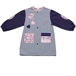 Dyneke Bata escolar botón azul Corazones rosa (Talla 4)