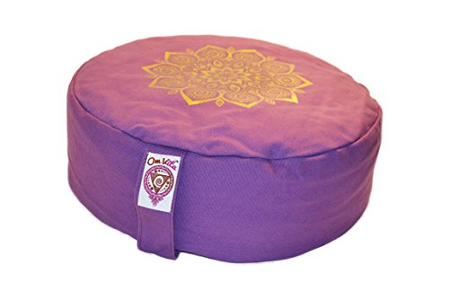 New Om Vita 100% Bio Zafu Meditationskissen mit Mandala Design (Lila)