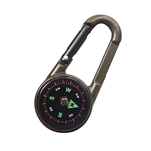 precauti Outdoor Multifunktions Wandern Metall Karabiner Mini Kompass Thermometer Schlüsselbund für Reisen Wandern Wandern Outdoor Camping -