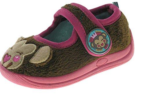 Beppi Kinder Hausschuhe Pantoffeln warm und bequem mit Innenfutter -braun und violett- Braun