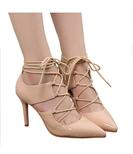 Guoar High Heels Schnürschuhe Große Größe Spitze Zehen Hohl Knöchelriemchen Pumps Party Hochzeit Club Natural