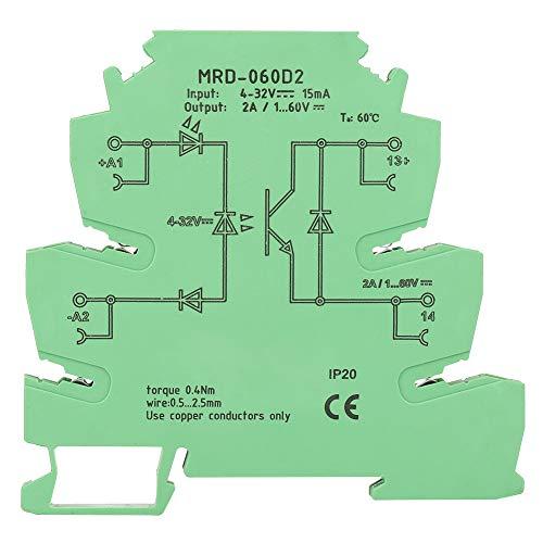 Wytino DIN-Schienen-Relaismodul, DC Halbleiterrelais MRD-060D2 Ultradünnes 6,2-mm-Halbleiterrelais, Eingang 4-32 VDC, NR -