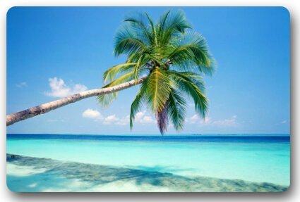 dearhouse Sandy Tropical Paradise Strand mit Palmen und das Meer Thema Fußmatten Hülle rutschfest Outdoor Indoor Badezimmer Kitchen Decor Teppich Matte Welcome Fußmatte 59,9x 39,9cm