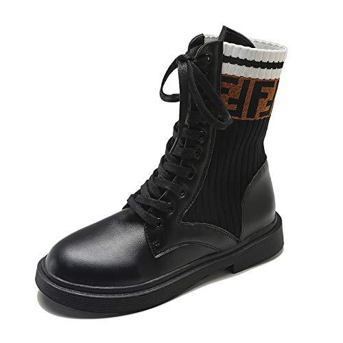 Shoe house Invierno Caliente Mujeres Botas Gamuza Chelsea Cuero Encaje Zapatos de Nieve,EU37/US6.5B(M)/UK4.5