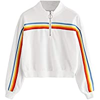 Geili Damen Mode Langarm Regenbogen Gestreiften Reißverschluss Bauchfreie Sweatshirt Jumper Pullover Bluse Frauen... preisvergleich bei billige-tabletten.eu