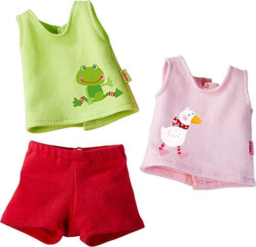 HABA 304228 - Kleiderset Unterwäsche, Set aus 2 Unterhemden und 1 Hose, Puppenzubehör für alle 30 cm großen HABA-Puppen, ab 18 - Unterwäsche-set Puppenkleidung