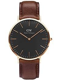 Daniel Wellington DW00100125 - Relojes en acero inoxidable con correa de piel, Unisex, color negro / marrón