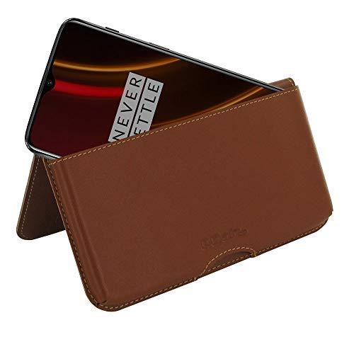 PDair OnePlus 6T McLaren Brieftasche Folio Handy (Braun), Echtleder Brieftasche Hülle Hülle Klapphülle Folio Etui, Handarbeit Prämie Brieftasche Tasche für OnePlus 6T McLaren - Handy Brieftasche Speck