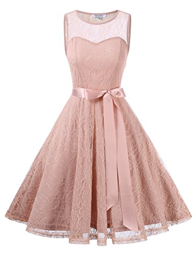 KoJooin Damen Elegant Kleider Spitzenkleid Brautjungfern Kleid Festliches Kleid Cocktailkleid...