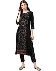 ZIYAA Women's Crepe Straight Kurta with Pant Set