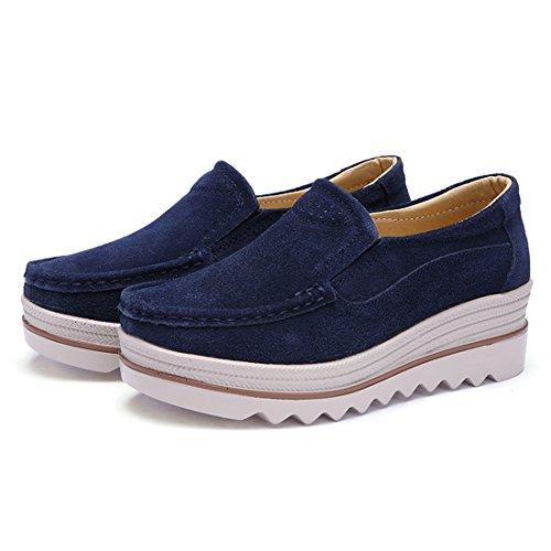 Z.SUO Mocassins Femmes Suède Casuel Confort Chaussures Loafers Bleu Foncé