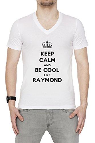 keep-calm-and-be-cool-like-raymond-uomo-t-shirt-v-collo-bianco-cotone-maniche-corte-mens-t-shirt-v-n