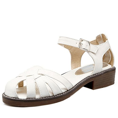 TAOFFEN Damen Casual Ankle Strap Buckle Sandalen Beach Low Heel Schuhe Weiß