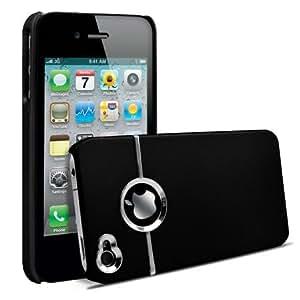 SHOP4PHONE® - Coque housse étui Chrome pour iPhone 4/4s Noir + 1 Film protecteur Offert
