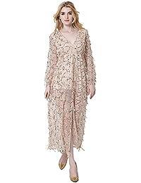 JOTHIN Damen Tief V-Ausschnitt Pailletten Kleider Langarm Ballkleid Lange Kleider  Sommerkleid Schulterfrei Mesh Partykleid 7efe93d736