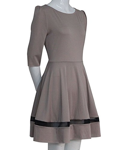 Minetom Damen Elegant Abendkleid Cocktailkleid Vintag Kleider 3/4 Hülse mit Spitzen Knielang Party Kleid Khaki