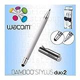Wacom_Bamboo Duo 2 in 1 Penna Digitale Universale e Penna a Sfera per Smartphone, Tablet e dispositivi Touchscreen (Bianco con Punta Stilo da 5 mm)