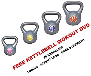 IQI FITNESS Kettlebell Set 2kg- 4kg - 6kg - 8kg Vinyl Kettlebell set- Set of 4 Kettelbells FREE DVD