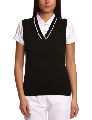 Women\'Calvin Klein Golf Damen-Pullunder mit V-Ausschnitt schwarz schwarz/weiß Small