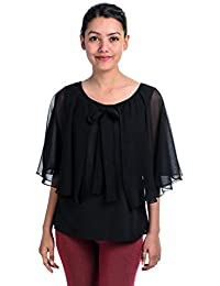 4313d6341998b Timbre Women s Partywear Fancy Black Cape Top with Inner Lining and Front  Knot