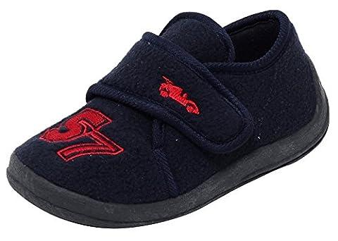 Jungen Kinder Fleece Hausschuhe Klettschuhe Puschen Pantoffeln warme Schuhe Slipper mit Klettverschluss Gr. 25 NAVY BLAU mit Rennauto