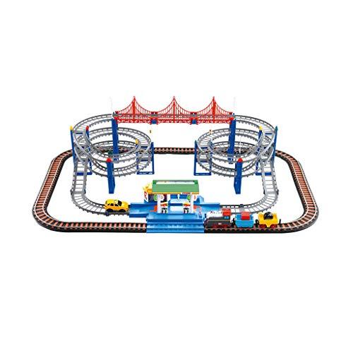 LIUFS-Schienenfahrzeuge Kleiner Zug Set Track Elektroauto Dinosaurier Achterbahn Junge Spielzeug Hochgeschwindigkeitsschiene Harmoniezahl (Farbe : Standard, größe : Gas Station Track)