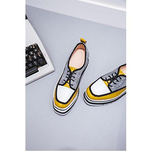 Suola Spessa Piattaforma Donna WSXY-A2501 Serie di Colori Incantesimo Stivali Basse Ecopelle Stivaletti,KJJDE yellow