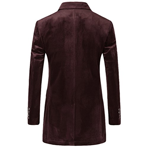 E-artist Uomo Slim Fit Casual Velluto Blazer Giacca X36 Rosso (Wine Red)