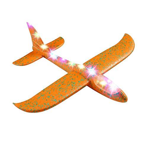 Ecisi 2pcs 19inch Flugzeug, großes werfendes Schaum-Flugzeug-Spielzeug mit Licht, manuelles Werfen, Spaß, fordernd, im Freiensportspielzeug, vorbildliches Schaum-Flugzeug, Geschenke für Kinder -