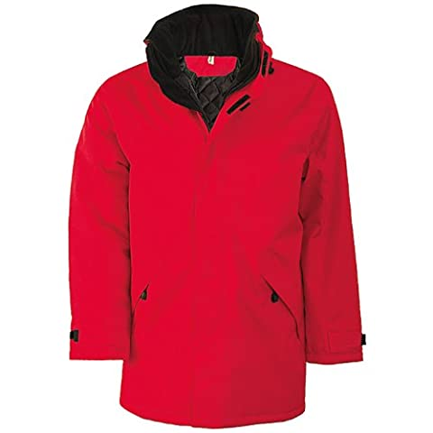 Kariban Mens Parka Performance Jacket (2XL) (Red/Black)