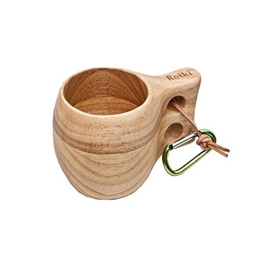 Retki Guksi Kuksa große Holz-Tasse Holzbecher, Trinkgefäß, Becher aus Eiche 290 ml für Mittelaltermarkt, Camping, Wandern, Geschenk für Naturliebhaber