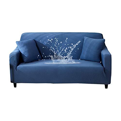 HOTNIU Wasserdichtes Stretch Sofa Schonbezug - 1-Piece Dehnbarer Stoff Couch Cover - Beflockt Muster Ausgestattet Couch Schonbezug (1-Sitzer, Blau)